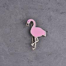 Серебряная брошка Розовый фламинго с эмалью