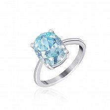 Серебряное кольцо Эдвена с фианитом цвета голубого топаза