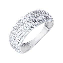 Золотое кольцо в белом цвете с фианитами 000117040