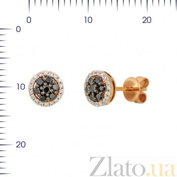 Серьги-пуссеты из красного золота Ивори с белыми и черными бриллиантами 000081140