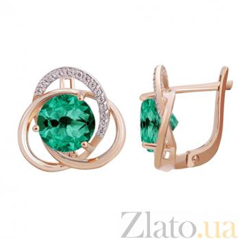 Серьги в красном золоте Кристина с синтезированным зелёным кварцем и фианитами SVA--2190433101/Синт. камень кварц