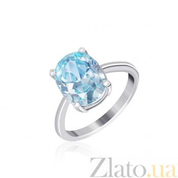 Серебряное кольцо Эдвена с фианитом цвета голубого топаза 000025460