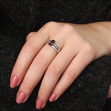 Серебряное кольцо Мирандина с гранатами и фианитами