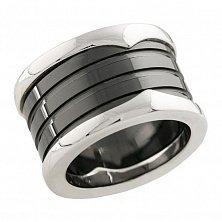 Кольцо из серебра и черной керамики Ньюкасл