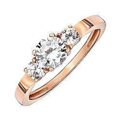 Кольцо из красного золота с фианитами 000139820