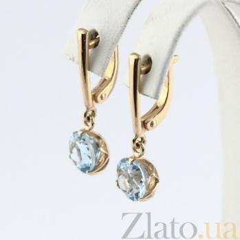 Золотые серьги с топазом Азиза VLN--113-1577-1