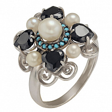 Серебряное кольцо Ночное рандеву Натали