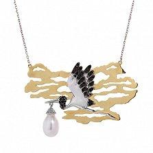 Серебряное колье с золотой вставкой, жемчугом и чёрным цирконием Аист