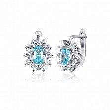 Серебряные серьги Сафира с голубыми и белыми фианитами