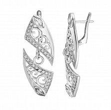 Серебряные серьги-подвески Катрина с белыми фианитами