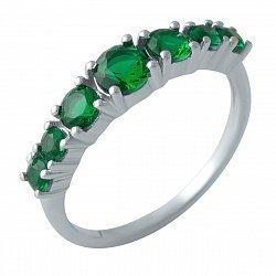 Серебряное кольцо с синтезированными изумрудами и родированием 000128893