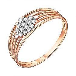 Кольцо из красного золота с фианитами и родированием 000135310
