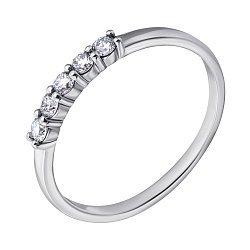 Кольцо из белого золота Дорожка с пятью бриллиантами
