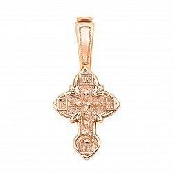 Крестик из красного золота Очищение в цветочном узоре с молитвой на тыльной стороне