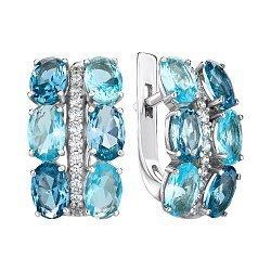 Серебряные серьги с кварцем и фианитами 000146125