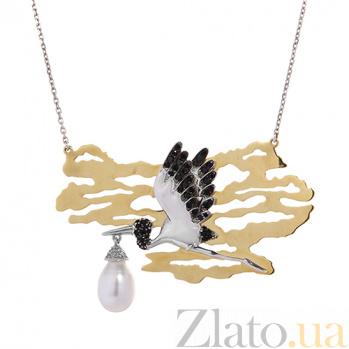 Серебряное колье с золотой вставкой, жемчугом и чёрным цирконием Аист 000027229