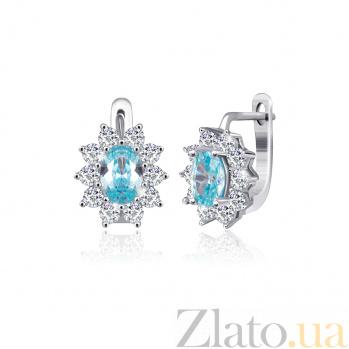 Серебряные серьги Сафира с голубыми и белыми фианитами 000024600