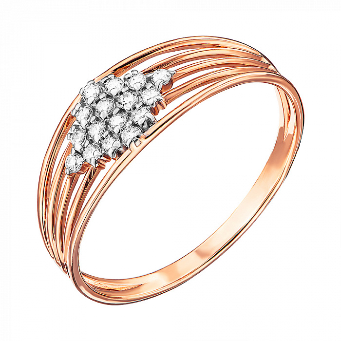 Кольцо из красного золота с фианитами и родированием 000135310 000135310
