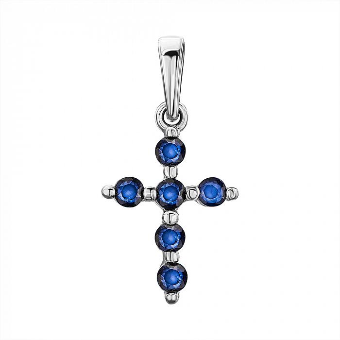 Серебряный декоративный крестик с сапфирами 000137252 000137252