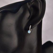 Серебряные серьги Юность с голубым топазом