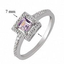 Серебряное кольцо с аметистом и фианитами Радость