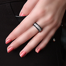 Серебряное кольцо Лира с фианитами