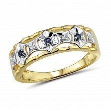 Золотое кольцо Калантия с бриллиантами и сапфирами