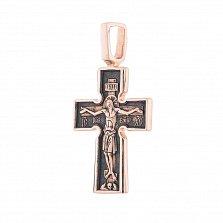 Золотой крест с чернением Спаситель