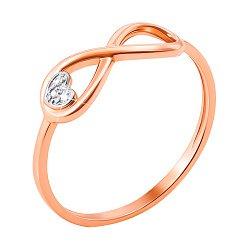 Кольцо в комбинированном цвете золота с бриллиантами, знаком бесконечности и сердечком 000131406