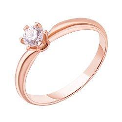 Кольцо из красного золота с бриллиантом, 0,25ct 000034717