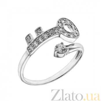 Серебряное кольцо с фианитами Ключ AUR--71414бau