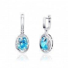 Серебряные серьги с голубым цирконием Каталина