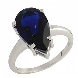 Серебряное кольцо Джанет с синтезированным сапфиром