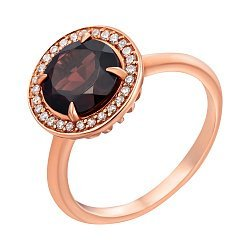 Золотое кольцо Миранда с гранатом и цирконием