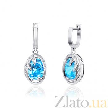 Серебряные серьги с голубым цирконием Каталина SLX--СК2ФТ/411
