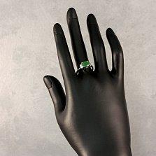 Серебряное кольцо Ривьера с синтезированным изумрудом и фианитами