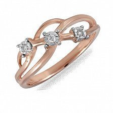 Кольцо Трио из красного золота с бриллиантами
