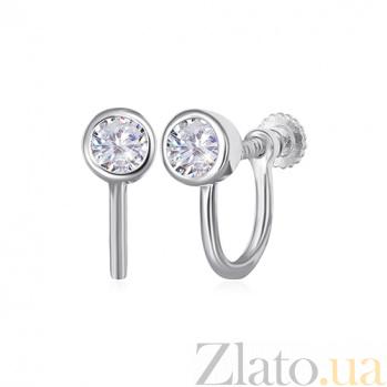 Серебряные серьги с цирконием Хантер SLX--С2Ф/842