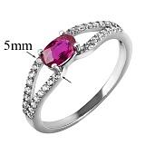 Серебряное кольцо с рубином и фианитами Барбарис