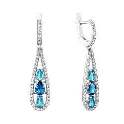 Серебряные серьги с кварцем под лондон топаз, голубым кварцем и фианитами 000063597