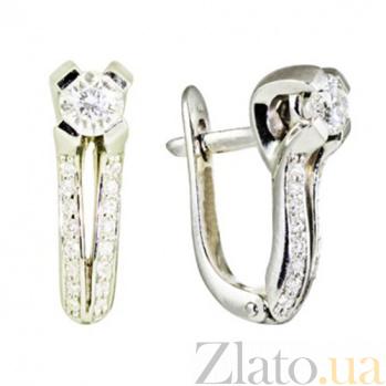 Золотые серьги с бриллиантами Бренда KBL--С2249/бел/брил