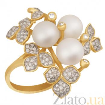 Кольцо из желтого золота с жемчугом и фианитами Эвелина VLT--TT1235