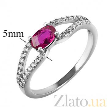 Серебряное кольцо с рубином и фианитами Барбарис 000019447