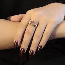 Золотой перстень Сокровище дракона с розовым турмалином и бриллиантами
