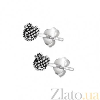 Серебряные сережки-пуссеты Сплетение SLX--С5/059