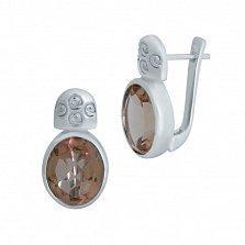 Серебряные серьги Хилини с корундом и узорами