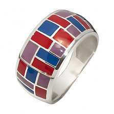 Серебряное кольцо Бенефис с эмалью