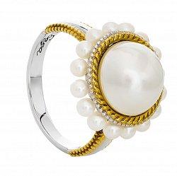 Серебряное кольцо с позолотой и жемчугом Амира