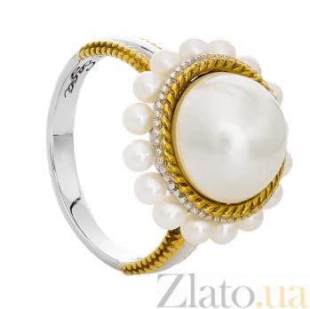 Серебряное кольцо с позолотой и жемчугом Амира 000029938