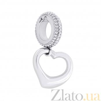 Шарм из родированного серебра Сердце 000035801